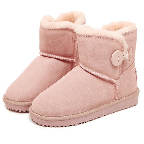 cute girl style Flat heel light pink woman snow boots