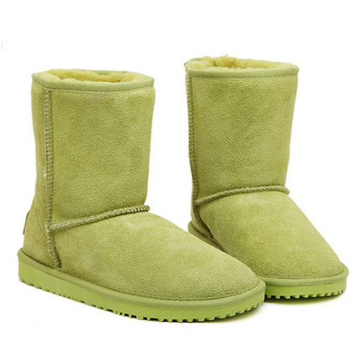 Cute girl style flat heel green woman snow boots