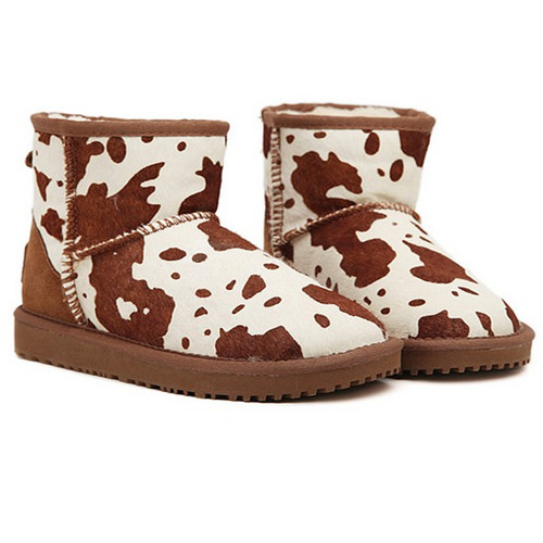 Sweet girl style Round-toe dairy cow pattern woman snow boots