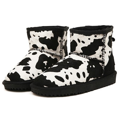 sweet girl flat heel dairy cow pattern woman snow boots