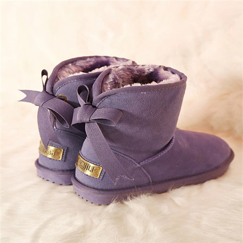 City style In-tube purple woman snow boots