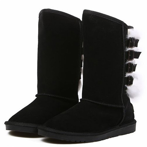 Mature style Round toe genuine leather woman snow boots