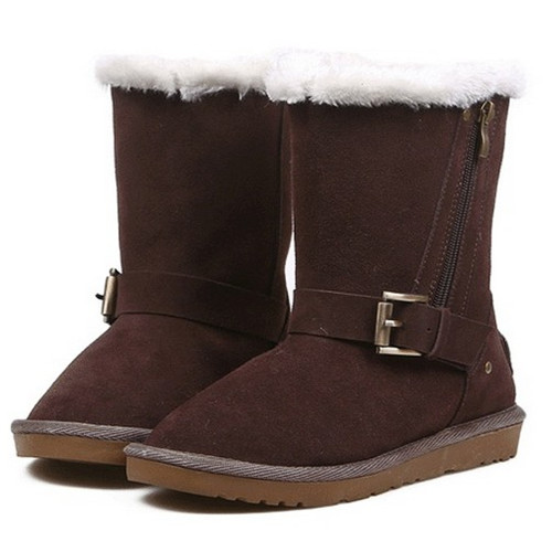 Mature style genuine leather wool woman snow boots