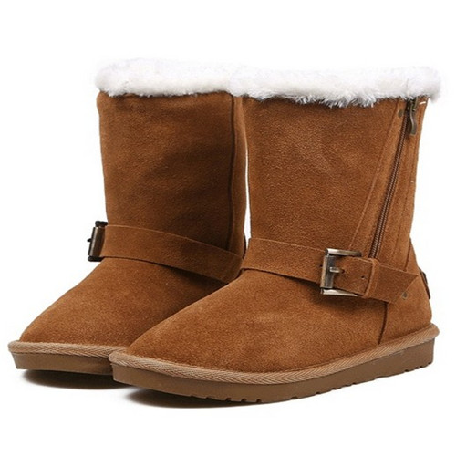 Fashion girl style flat heel genuine leather woman snow boots