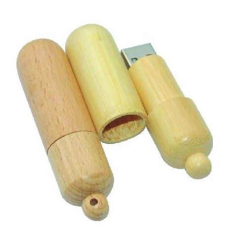 Pill shape wooden usb key