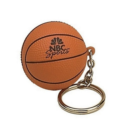 Basketball shape pu stress ball keychain
