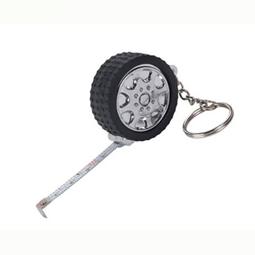 Tire shape tape measure keychain
