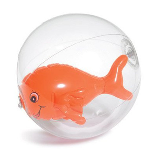 Transparent inflatable ball with fish inside