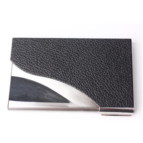 Leather and stainless steel card case