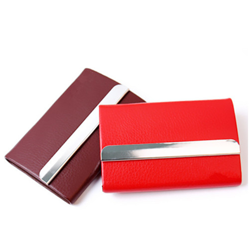 New style pu leather and metal name card holder