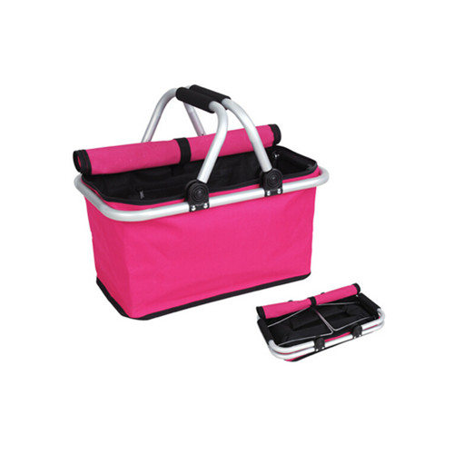Pink color fabric folding shopping basket