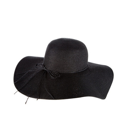 Black color Marcella Floppy Wide Brim woman straw Hat
