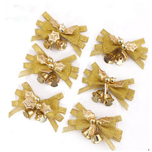 Gold color christmas bowknot with golden bell