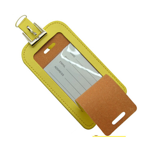 Light yellow color pu material luggage tag
