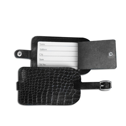 Black color crocodile line leather luggage tag