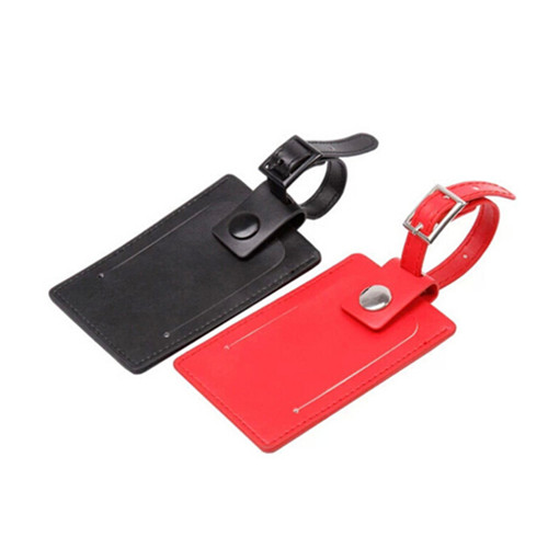 Black and red color pu material travel luggage tag