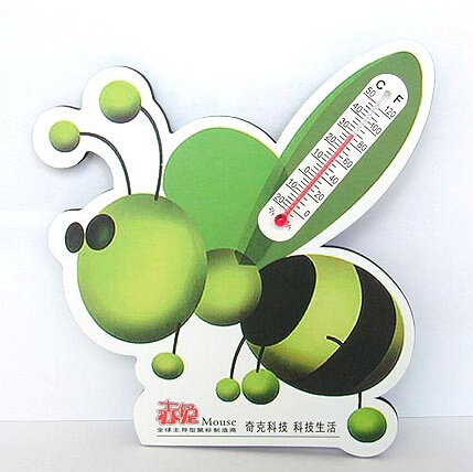 Customized shape bee shape paper Refrigerator Magnet with thermometer