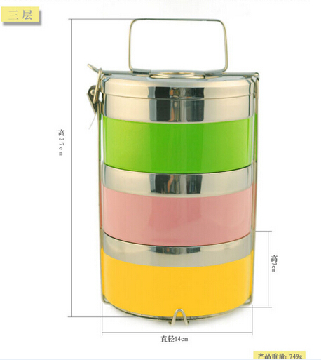 Colorful paniting stainless steel three layer food container, food jar, hot pot, thermo pot