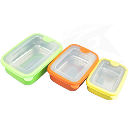 Plastic outside and  stainless steel inside food lunch box, food jar, food storage box