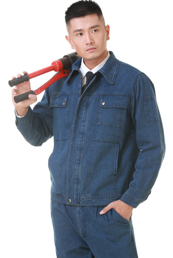 100% cotton denim jacket overalls,  Labor working suit, denim welder uniform