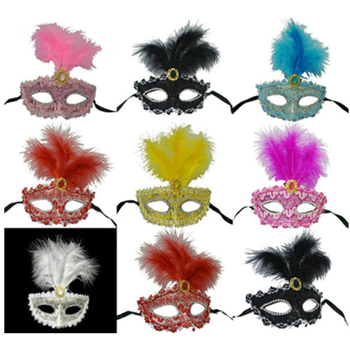 Beautiful princess masquerade party feather mask