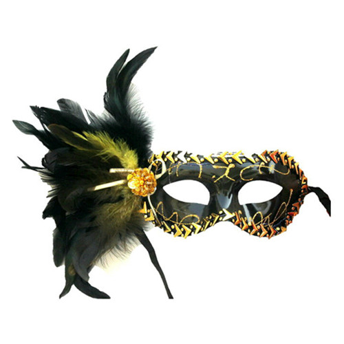 Halloween party beauty princess of venice feather half face mask for woman