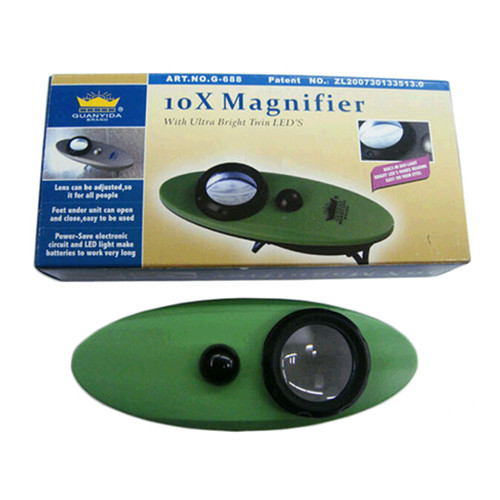 wholesale boat shape 10X magnifier with ultra bright twin leds