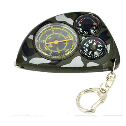 Multi-function with map and measure scale and thermometer compass keychain