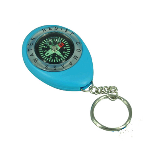 Promotional plastic compass keychain