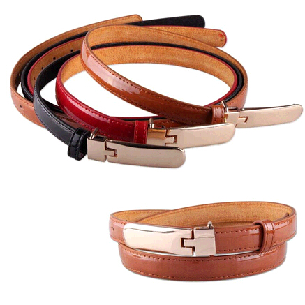Fashion genuine leather woman thin belts for dress with metal buckle/mm-wholesale.com