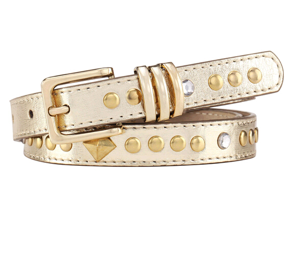 Silver color double buckle woman studded belt with rivets