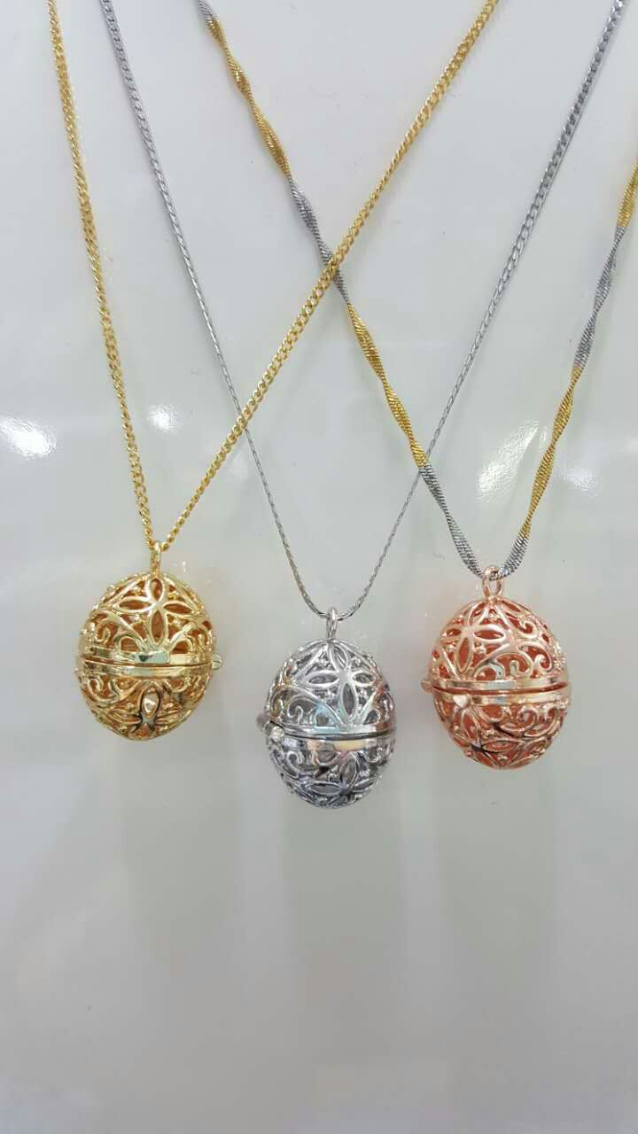 New style gold color or silver color copper with plating platium pendant essential oil diffuser necklaces