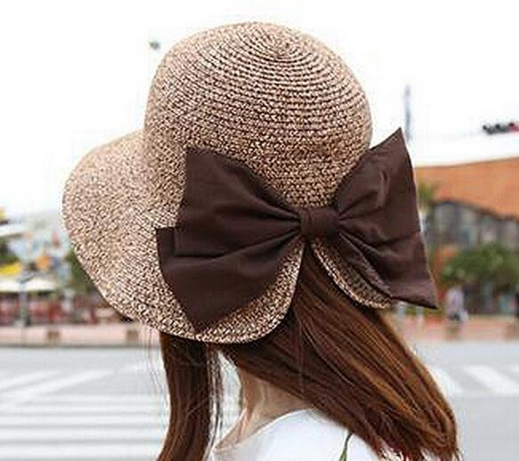 Beautiful style fashion woman beach straw hat and cap with bowknot