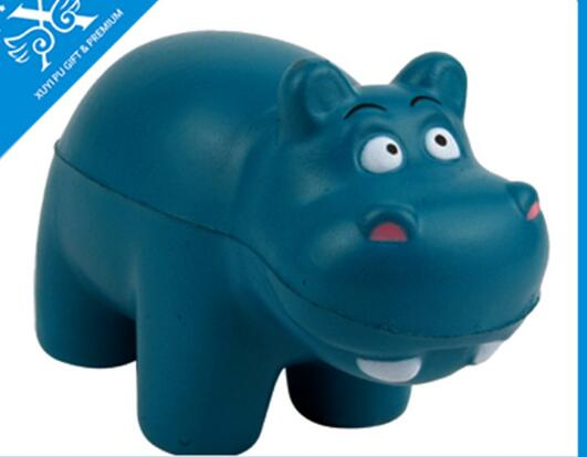 Wholesale blue color hippo shape pu stress ball