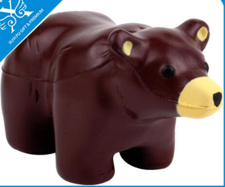 Wholesale coffe color bear shape pu stress ball