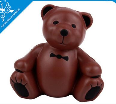 Wholesale coffer color bear shape pu stress ball