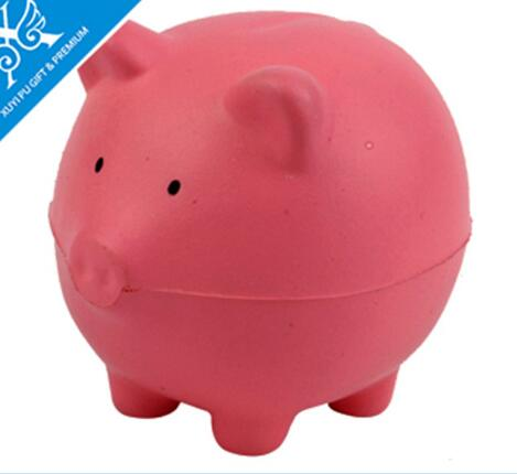 Wholesale pink color cute pig shape pu stress ball