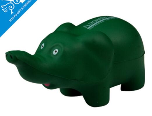 Wholesale green elephant shape pu stress ball