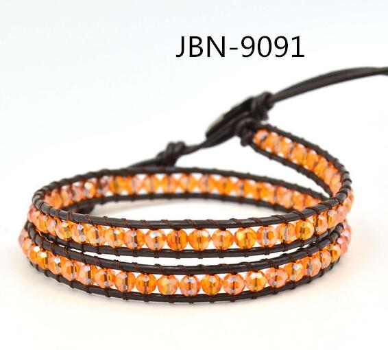 Wholesale orange color crystal leather wrap bracelet