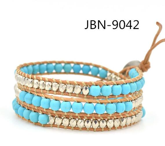Wholesale turquoise and plating silver crystal 3 wrap leather bracelet