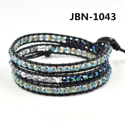 Wholesale black color crystal 3 wrap leather bracelet on black leather