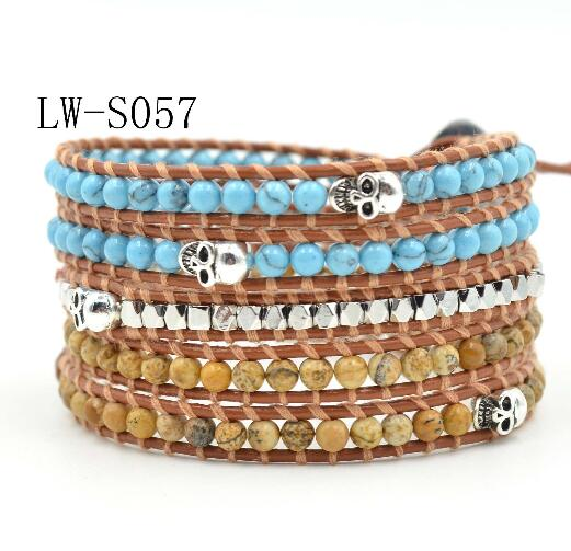 Wholesale turquoise and gemstone 5 wrap leather bracelet on brown leather