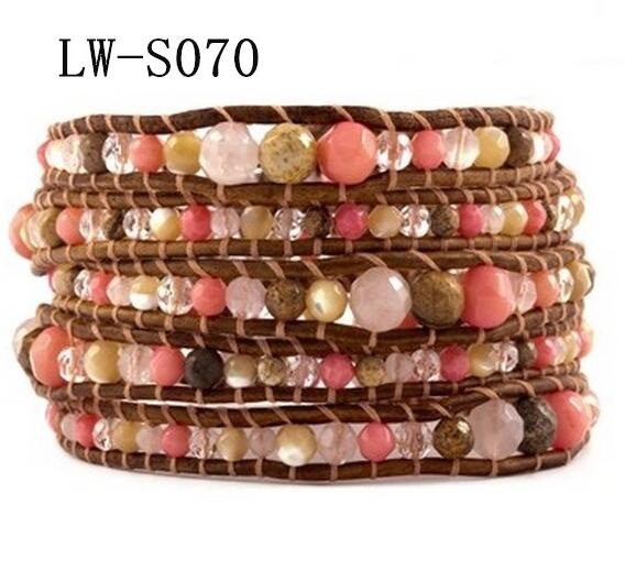 Wholesale colorful stone  5 wrap leather bracelet