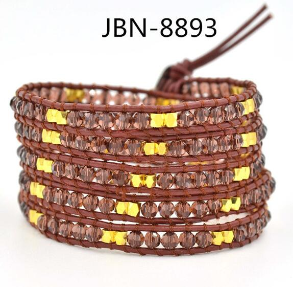 Wholesale brown crystal  5 wrap leather bracelet on brown leather