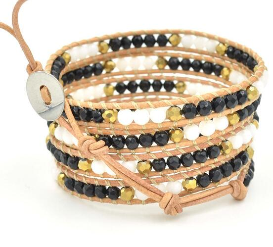 Wholesale black color carnelian and plating white color bead  5 wrap leather bracelet