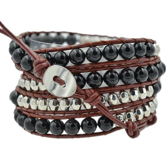 Wholesale black color carnelian and plating silver crystal  5 wrap leather bracelet