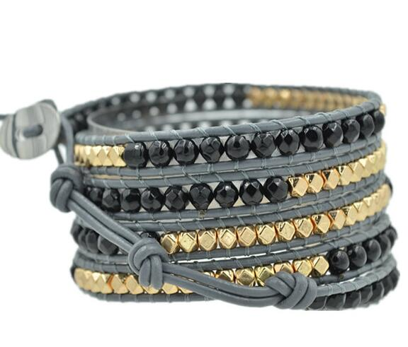 Wholesale black color carnelian and plating gold color  5 wrap leather bracelet