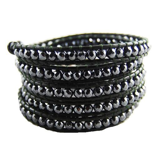 Wholesale black color carnelian 5 wrap leather bracelet