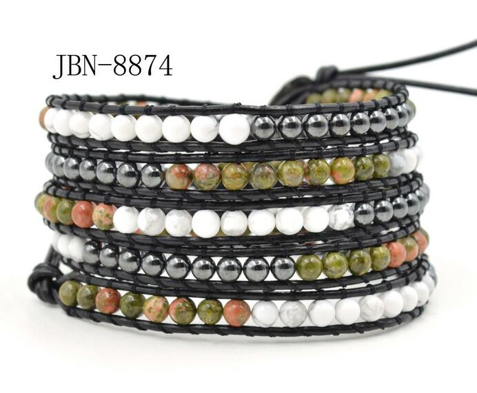 Wholesale black color crystal and white color 5 wrap leather bracelet