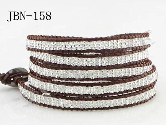 Wholesale small crystal bead 5 wrap leather bracelet